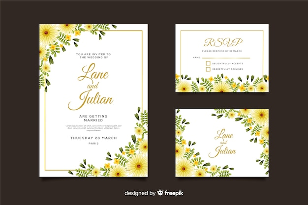 Wedding invitation card template and rsvp Free Vector