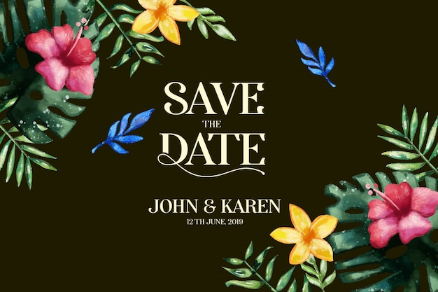 Wedding invitation card template. save the date Free Vector