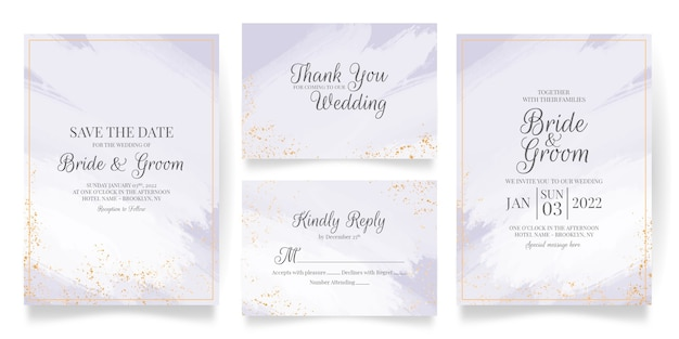 추상 수채화와 열대 잎 장식 설정 결혼식 초대 카드 템플릿 프리미엄 벡터
