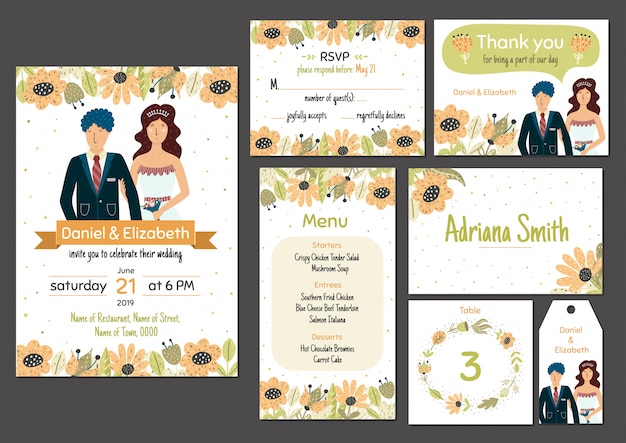 Wedding Invitation Card Template Set With Adorable Bride And