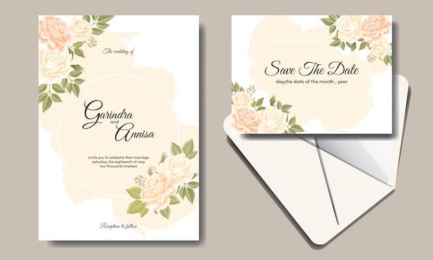 Свадебный шаблон приглашения с красивыми цветочными листьями Premium векторы