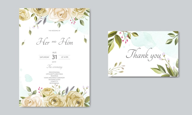 Wedding invitation card template set with beautiful floral leaves Premium Vector