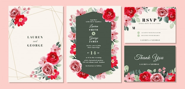 Wedding invitation card template set with beautiful flower watercolor Premium Vector