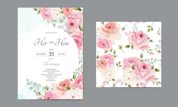 Wedding invitation card  template set with beautiful seamless pattern floral leaves Premium Vector