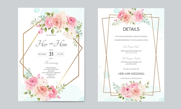 Wedding Invitation Card Template Set With Golden Border And