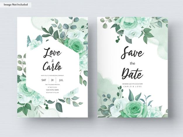 Modello di carta di invito a nozze con fiori e foglie verdi Vettore gratuito