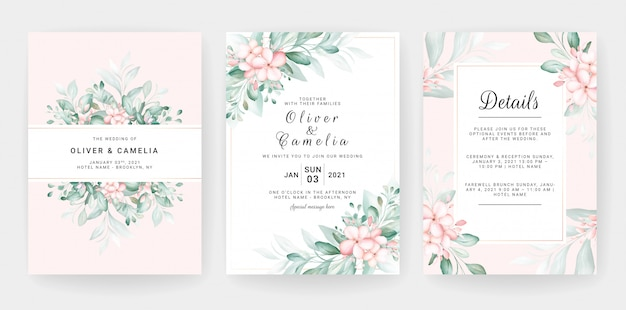 Wedding invitation card template set with soft peach watercolor floral decorations. Premium Vector