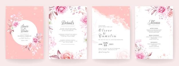 結婚式の招待カードテンプレートは、水彩と花の装飾を設定します。保存日、挨拶、rsvp、ありがとうの花の背景 Premiumベクター
