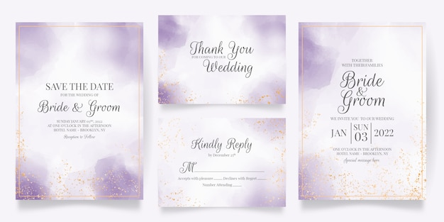 Шаблон свадебного приглашения с акварельным декором Premium векторы