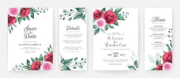 결혼식 초대 카드 템플릿 수채화 꽃 배열 및 테두리 설정 프리미엄 벡터