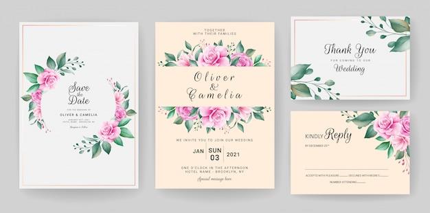 결혼식 초대 카드 템플릿 수채화 꽃 프레임 및 테두리 설정 프리미엄 벡터