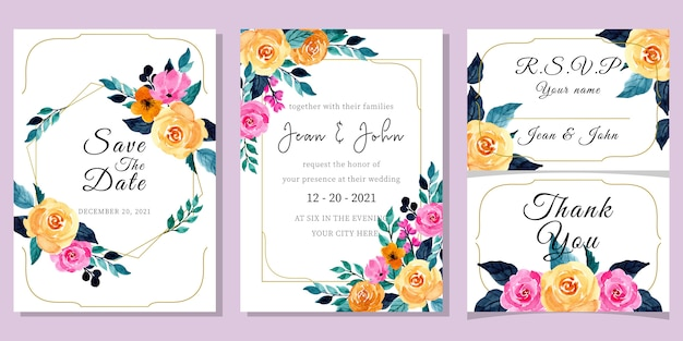 Wedding invitation card template set with watercolor floral Premium Vector