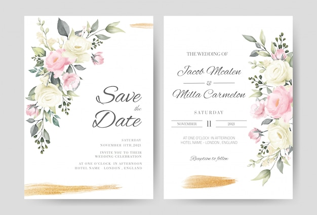 Wedding invitation card template set with watercolor pink and white rose gold brush. Premium Vector