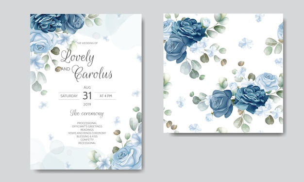 Wedding invitation card template set Premium Vector