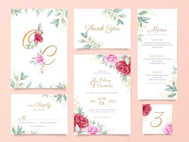 Wedding invitation card template suite with elegant flowers and gold decoration Premium Vector