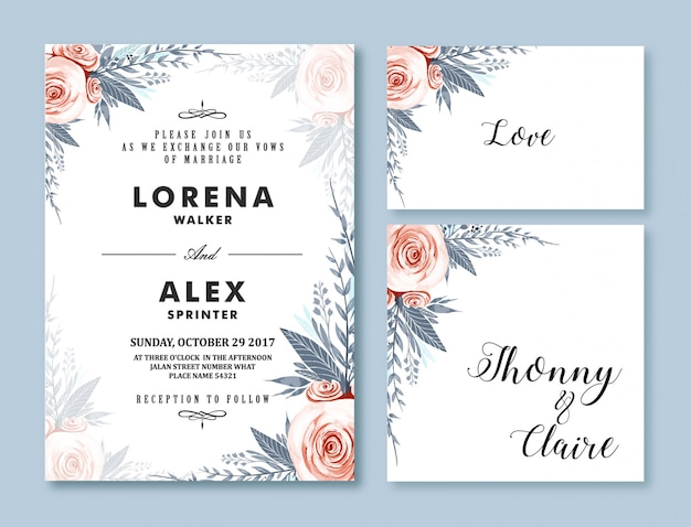 Wedding invitation card template watercolor flower Premium Vector