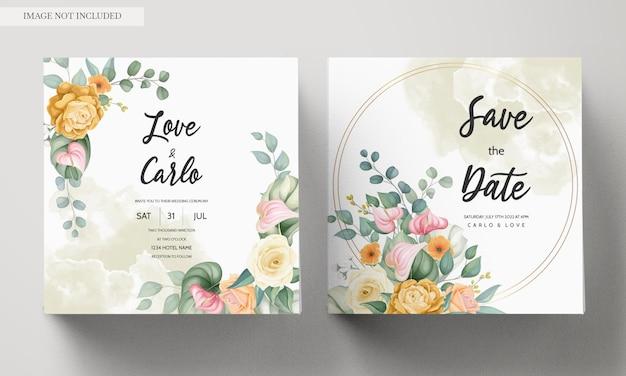 아름 다운 피 화려한 꽃 결혼식 초대 카드 서식 파일 무료 벡터