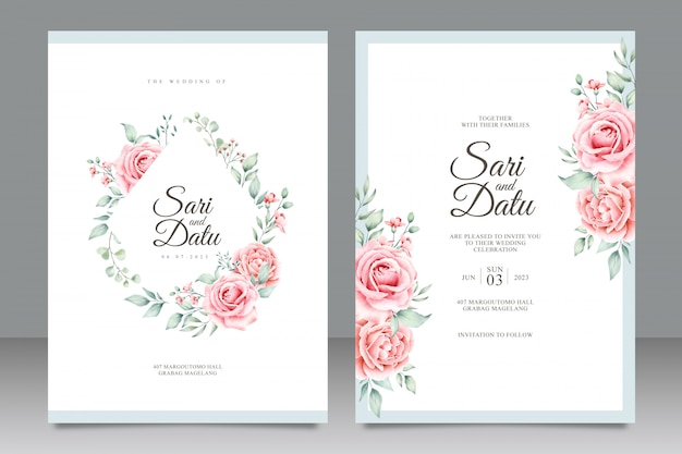 Wedding invitation card template with beautiful floral watercolor Premium Vector