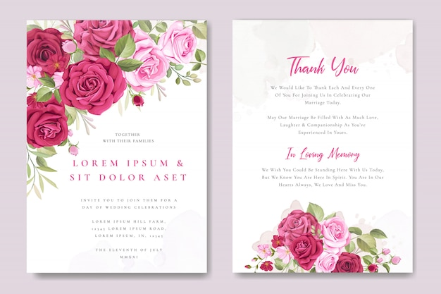 Wedding invitation card template with beautiful pink roses Premium Vector