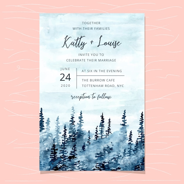 Wedding invitation card template with blue misty forest watercolor Premium Vector