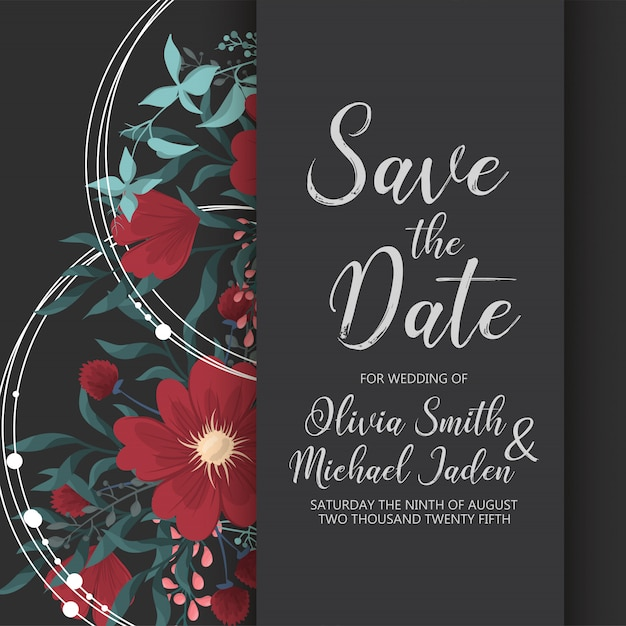 Wedding invitation card template with colorful flower. Free Vector