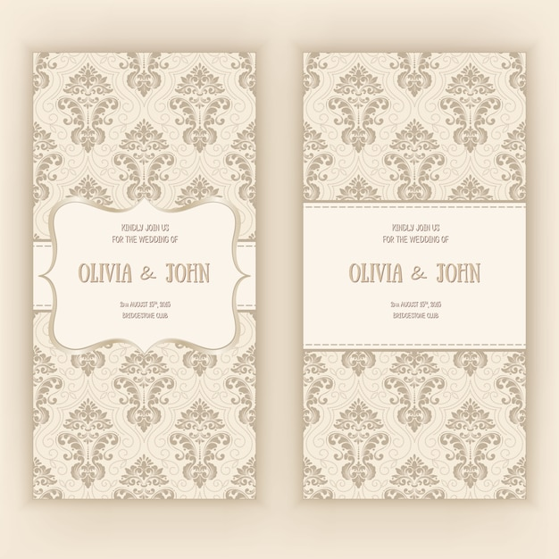 Wedding invitation card template with damask ornament Free Vector
