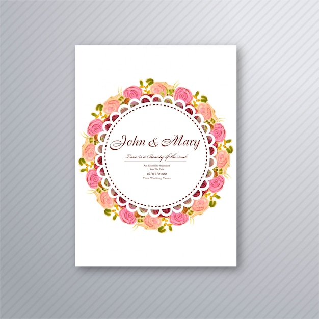 Wedding invitation card template with decorative floral background illustration Free Vector