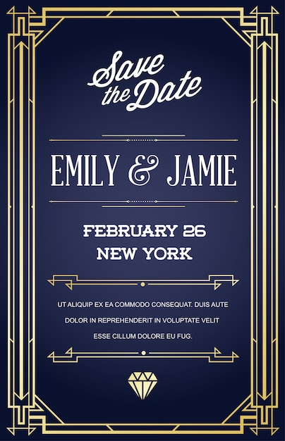 Wedding invitation card template with design in art deco or nouveau epoch 1920's Premium Vector