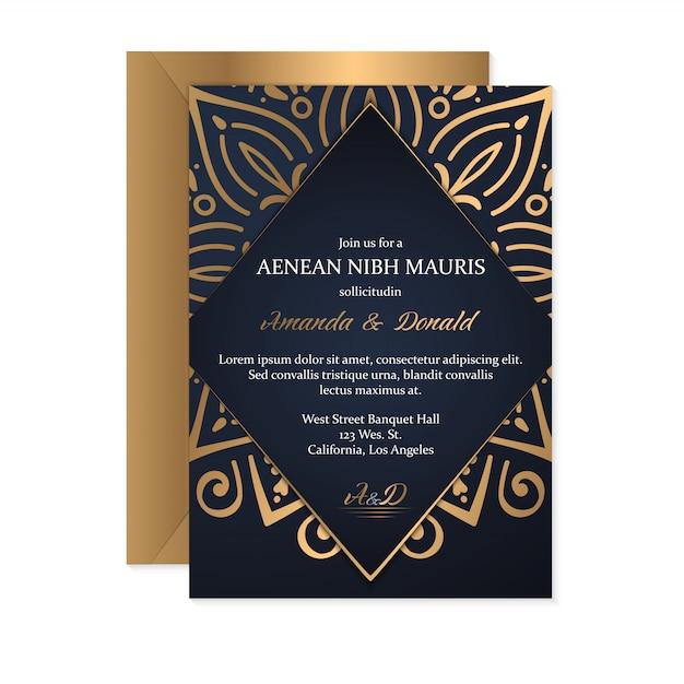 Шаблон свадебного приглашения с этническим стилем, восточным дизайном Бесплатные векторы