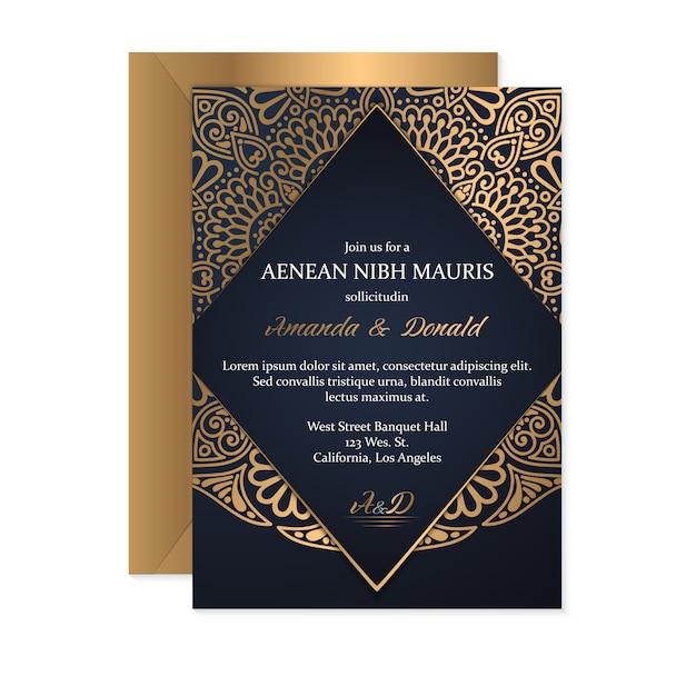 Modello di carta di invito di nozze con stile etnico, design orientale Vettore gratuito