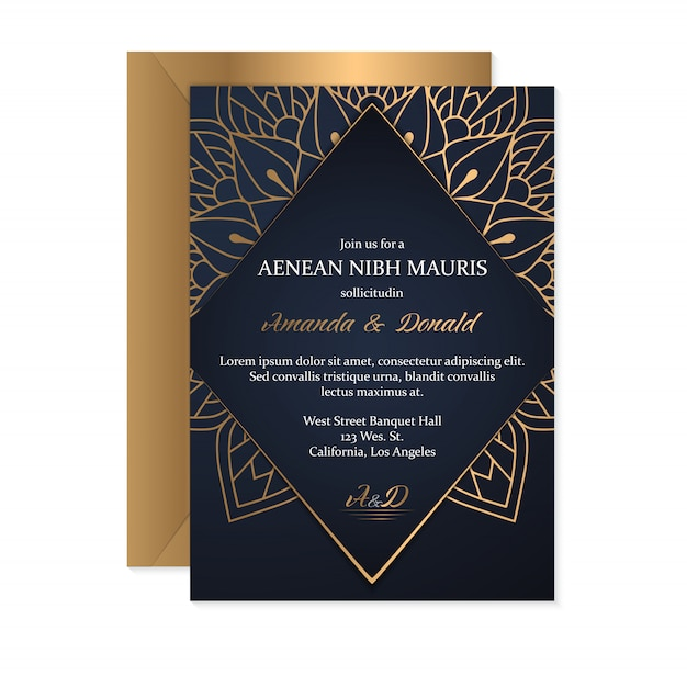 Wedding invitation card template with ethnic style, oriental design Free Vector