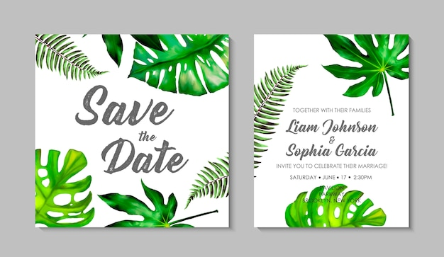 Wedding invitation card template with exotic tropical leaves. Premium Vector