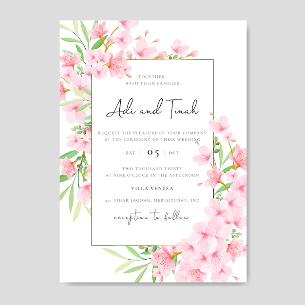 Wedding invitation card template with floral cherry blossom design Premium Vector