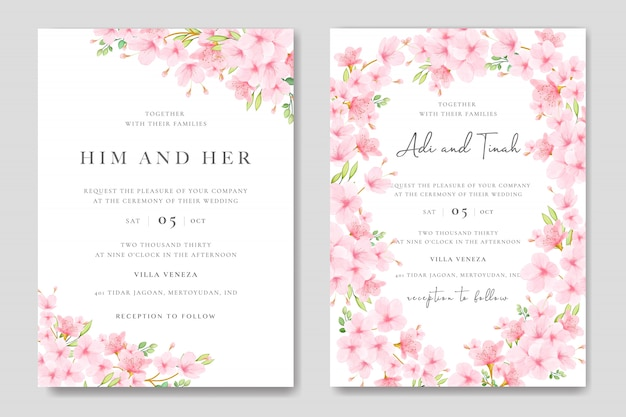 Wedding Invitation Card Template With Floral Cherry Blossom