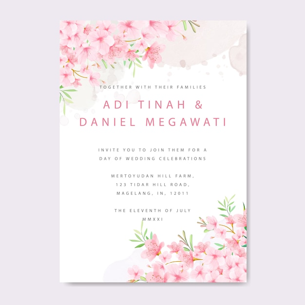 Wedding invitation card template with floral cherry blossom frame Premium Vector