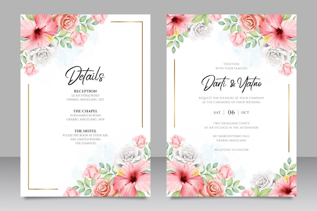 Wedding invitation card template with floral frame aquarel Premium Vector