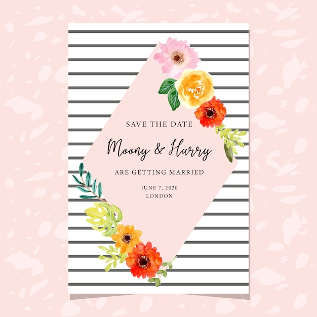 Wedding invitation card template with floral frame Premium Vector