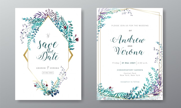 Wedding invitation card template with floral watercolor decoration Premium Vector