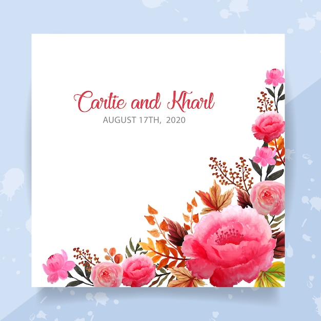 Wedding invitation card template with floral watercolor Premium Vector