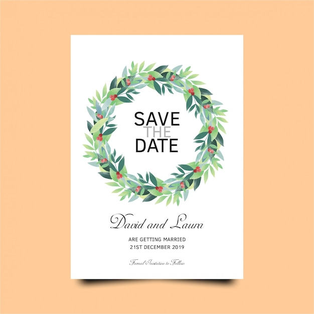 Wedding invitation card template with green leaves template Premium Vector