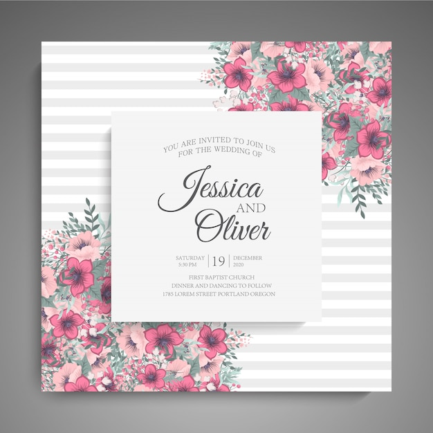 Wedding Invitation Card Template With Pink Flowers Vector