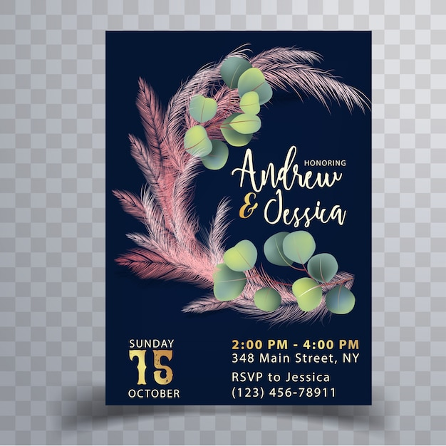 Wedding invitation card template with pink pampas grass Premium Vector