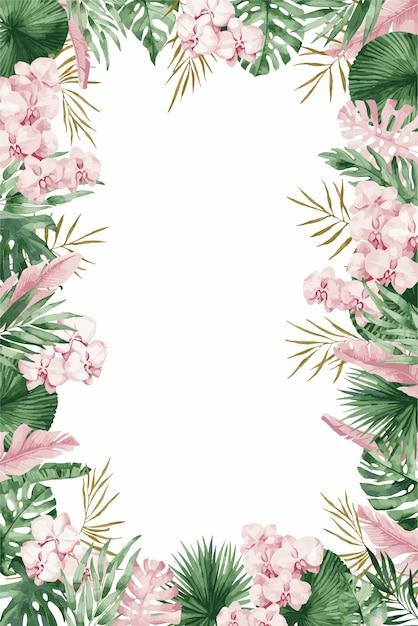 ピンクの春の花、イラストと結婚式の招待カードテンプレート。 Premiumベクター
