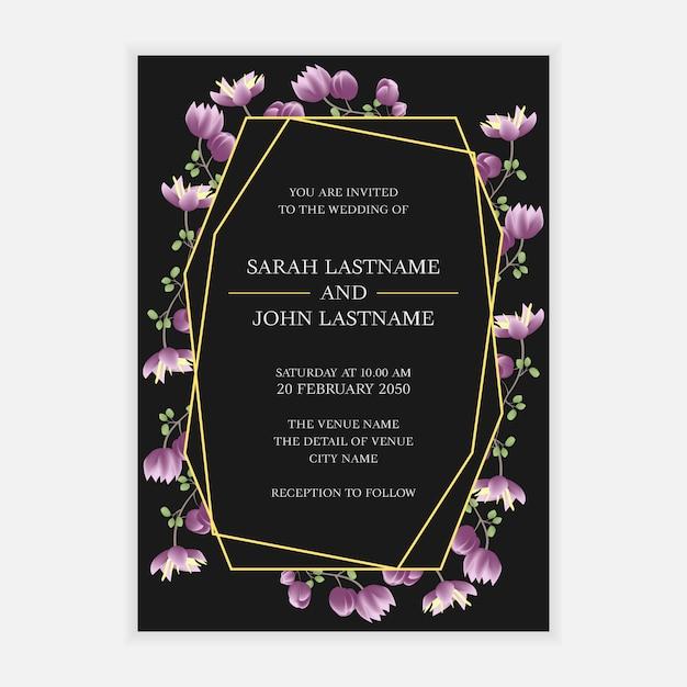Wedding invitation card template with purple flower frame Premium Vector