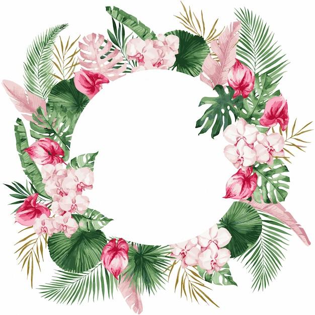 開花マグノリア、春の花、イラストの枝のイメージと結婚式の招待カードテンプレート。 Premiumベクター