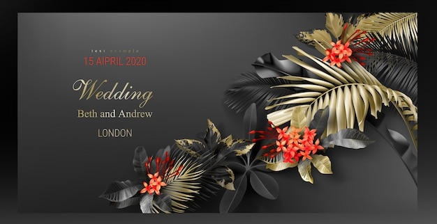 Wedding invitation card template with tropical black and gold leaves Free Vector