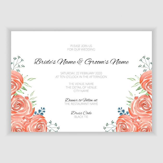 Wedding Invitation Card Template With Vintage Watercolor