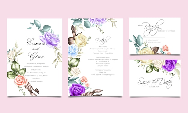 Wedding invitation card template with watercolor floral and leaves Premium Vector