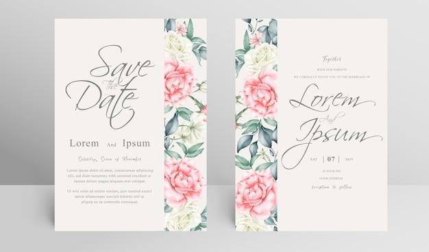 水彩花飾り付きの結婚式の招待カードテンプレート Premiumベクター