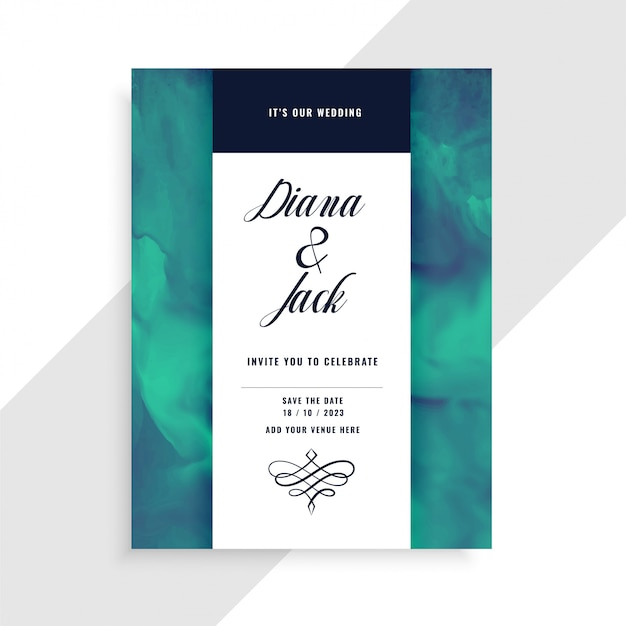 Wedding invitation card template with watercolor texture Free Vector
